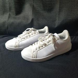 White Adidas Shoes.